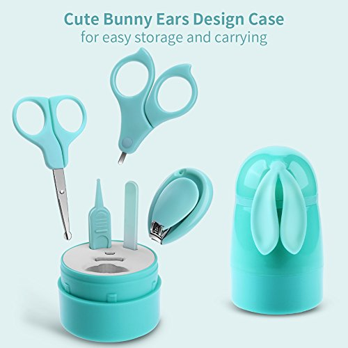 Image of the AiKiddo Baby Manicure Kit Infant Nails Clipper Set with Scissors, Tweezers and Nail File,Baby Grooming kit,Complete Care for Any Child, Newborn, Infant or Toddler Nails (5 pcs) (Mint Green)