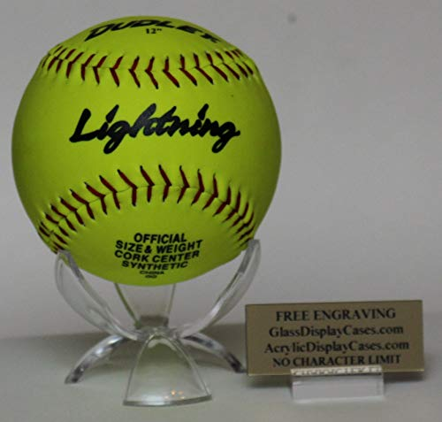 (AcrylicDisplayCases.com Softball Personalized 3 Wing Display Stand for Game Ball with Custom Name Plate Holder - Free No Limit Engraving)