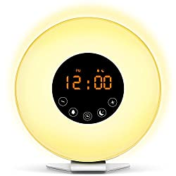 Wake Up Light Digital Alarm Clock with Sunrise Simulation - 6 Nature Sounds and FM Radio, 7 Colors Switch, Sunset Fading Night Light for Bedside and Kids, Digital Clock for Heavy Sleeper