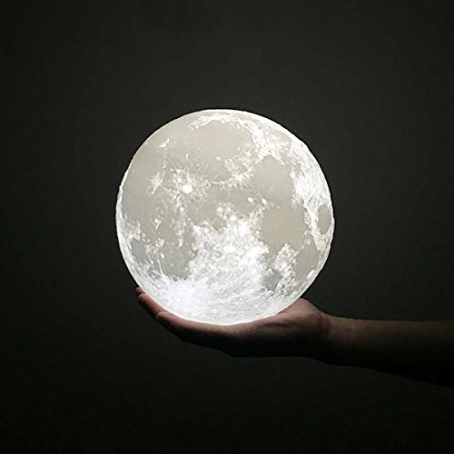 Moon Lamp, HOLA 3D Printed Moon Light Night Light, Glowing Moon Globe Light LED Table Lamp, Dimmable Brightness Two Tone Touch Control USB Rechargeable Lunar Light for Creative Gift, Bedroom, 5.9 Inch by HOLA