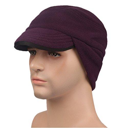 Home Prefer Unisex Winter Skull Cap Outdoor Windproof Polar Fleece Earflap Hat with Visor Purple