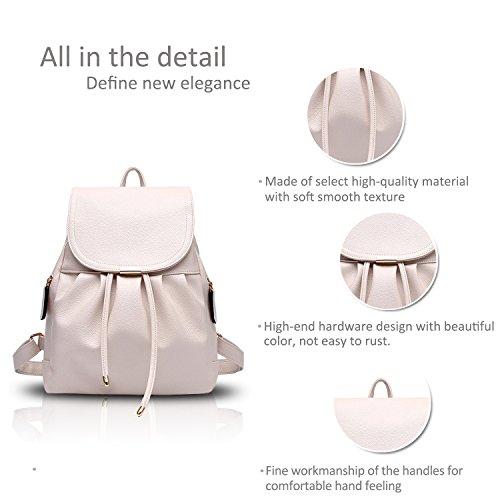 NICOLE&DORIS Bolso de escuela de la moda de las mujeres Mochila de viaje Hombro de mochila Impermeable PU duradero Azul Blanco