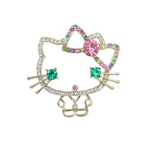 Gold Color Plated Cute Dressing Cat Brooch Pin Badge Emblem Corsage Pins for Women Girl