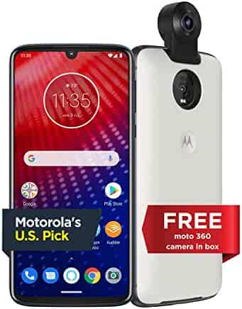 Moto Z4 with Alexa Hands-Free (Moto 360 camera included) – Unlocked Smartphone – 128 GB – Frost White