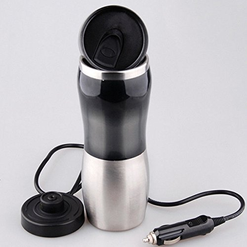 UNAKIM-Portable Car 12V Stainless Steel Kettle Boil Cup Warm Hot Water 100° Heater Mug by UNAKIM