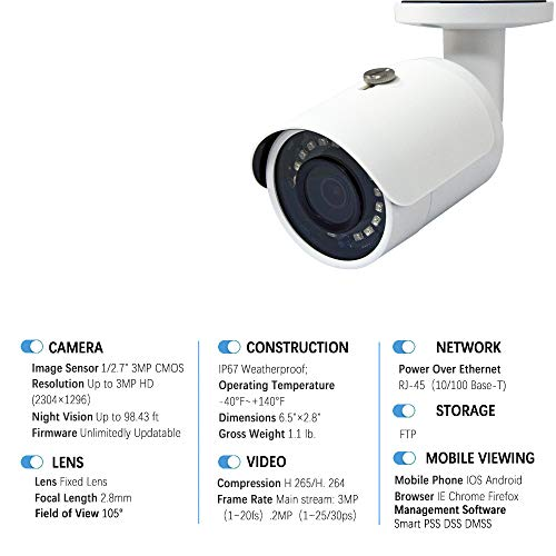 3MP POE Bullet IP Camera - IPC-HFW1330S-S4 2.8mm Eyeball IP Network Camera with 98ft IR Night Vision with H.265, IP67 Waterproof, SD Card Slot, WDR, 3D DNR