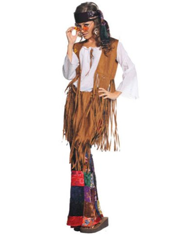 Underwraps Costumes  Women's Retro Hippie Costume - Peace Out, White/Tan/Multi, X-Large