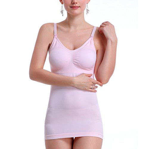 TFgirl Mujeres Slim Maternidad Alimentación Chaleco Sostén Enfermería Lactancia Tank Tops Blusa Camisa Brasieres rosado