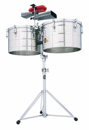 Latin Percussion LP258SLP Tito Puente Thunder Timbales, Steel with Stand by Latin Percussion