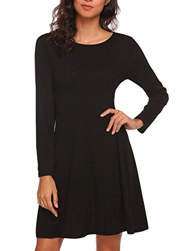(Misakia Women Sophisticated Slim Fit Long Sleeve Flare Skater Dress (Black)