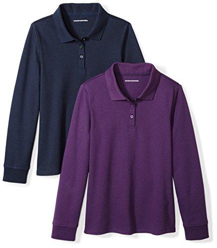 Amazon Essentials Little Girls' 2-Pack Long-Sleeve Interlock Polo Shirt, Purple/Navy, S (6-7) (Girls Purple Uniform Shirt)