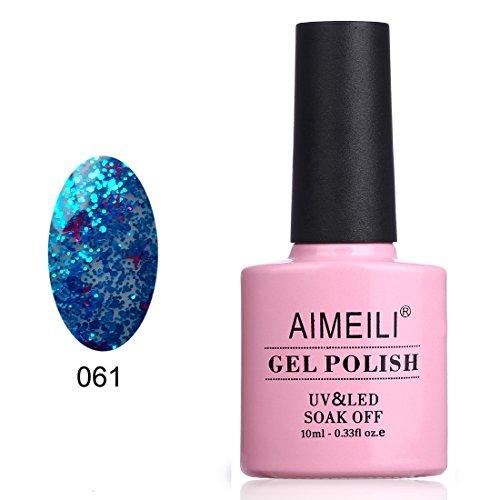 AIMEILI Soak Off UV LED Clear Glitter Gel Nail Polish - Glit
