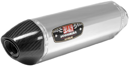 Yoshimura R77 Polished Stainless Steel Single Slip-On Exhaust System with Carbo - Suzuki GSX-R1000 2009-2011
