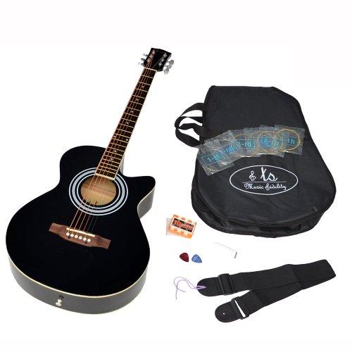 ts-ideen Western Style 4/4 Akustik Gitarre mit Rosenholz und Zubehörset (gepolsterte Gitarrentasche, Gurt, Ersatzsaiten und Stimmpfeife) schwarz