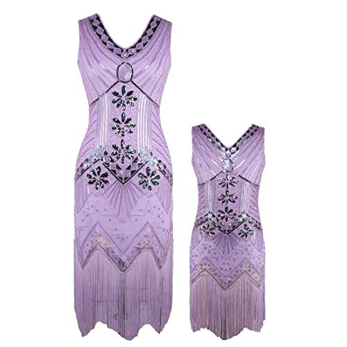 AMJM Mommy and me 1920s Gastby Sequin Art Nouveau Embellished Fringed Flapper Dress (X-Small, Light Purple) -