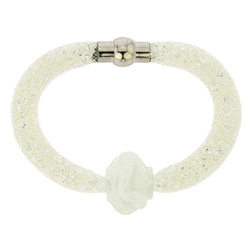 GlassOfVenice Murano Glass Rose Flower Bracelet - White