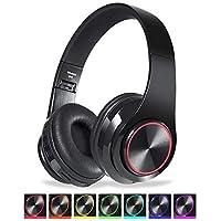 CIC Fones de ouvido Dobrável Bluetooth com Led do Brilho de 7 Cores Over Ear em Estéreo Sem Fio Cartão TF Portátil com Microfone para IOS Android PC TV, Preto
