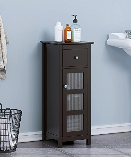 SPIRICH Bathroom Storage Floor Cabinet, Bathroom Cabinet free standing with Single Drawer and Adjustable Shelf (Espresso) by Spirich Home