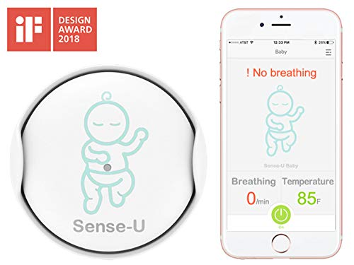 Sense-U Baby Monitor Breathing Movement Rollover Temperature Detector App Integrated & Bluetooth Enabled Real-Time Monitoring (2019 Updated Version)