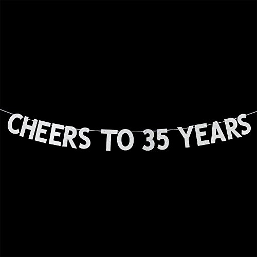 Cheers to 35 Years Banner - Happy 35th Birthday Party Bunting Sign - 35th Wedding Anniversary Decorations Supplies - Silver