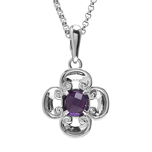 Carolyn Pollack Sterling Silver Purple Amethyst Birthstone Gem Flower Pendant Necklace 16 to 18 Inch