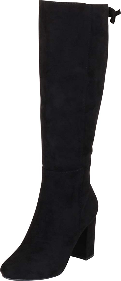 Black Imsu Cambridge Select Women's Back Lace Chunky Block Heel Knee-High Boot
