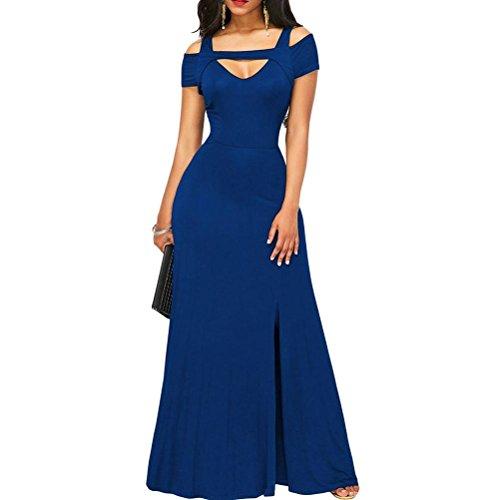 Correas Partido de Largos Mujeres Para Collar C sólido Vestido Elegante Cruzadas del Noche Color Vestidos gOqffd