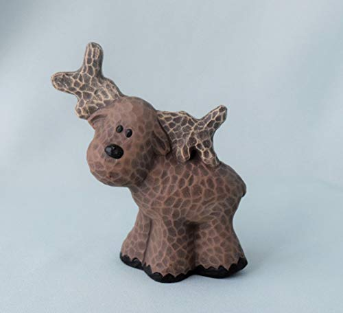 Whittled Ceramic Moose Figurine