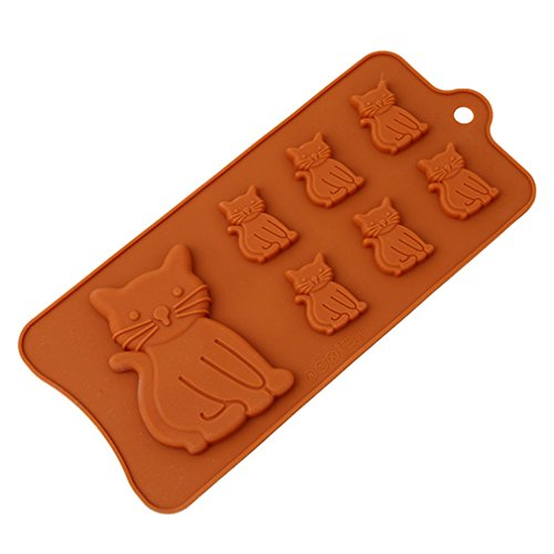 HS 1PCSilicone Cat Kittens Shape Ice Cube Tray Candy Chocolate Soap Mold for Baking (Making Halloween Jello Shots)