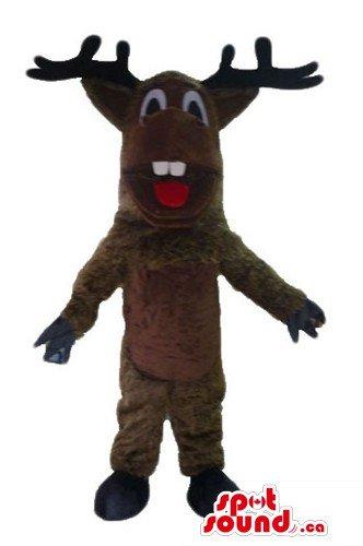 [Deluxe brown Christmas Reindeer SpotSound Mascot US costume fancy dress] (Deluxe Reindeer Mascot Costumes)