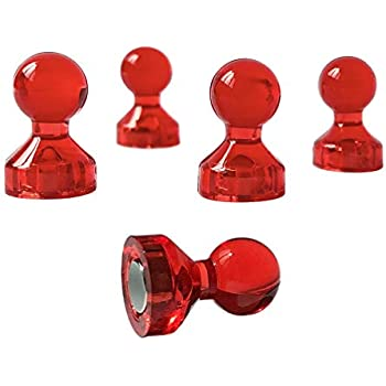 Red Magnetic Push Pins (Set of 30) Vibrant Red Color Translucent Fridge Magnets
