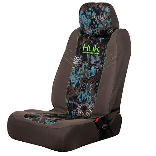 Realtree Truck Seat Covers - HUK Fishing Angler Low Back Seat Cover | Grey/Kryptek Neptune | Single