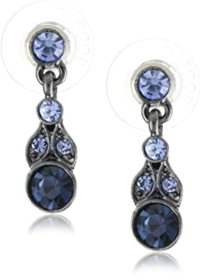 """1928 Jewelry """"Simplicity"""" Hematite-Color and Sapphire-Color Drop Earrings"""