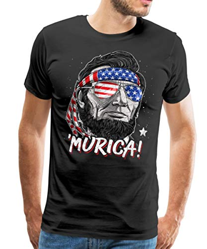 Spreadshirt 'Murica Abraham Lincoln Funny 4th of July Men's Premium T-Shirt