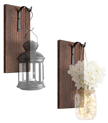 (Dahey Rustic Wall Hooks with Wood Board, Set of 2 Wrought Iron Hooks Metal Decorative Hangers for Hanging Mason Jars Lantern Planter Tin Pot Sconce Wall Decor)