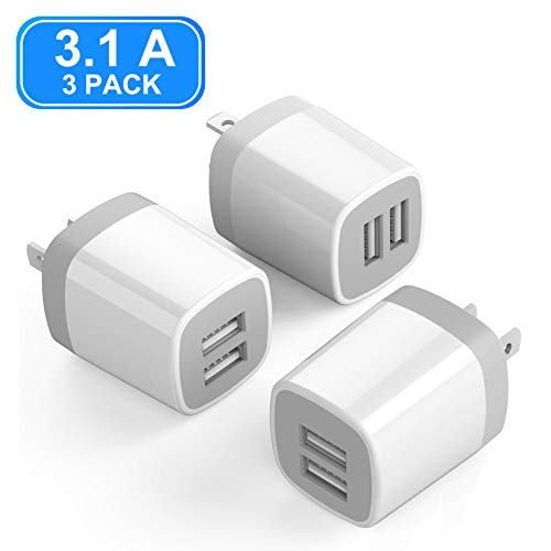 USB Wall Charger, Vogek 3.1A 3-Pack Dual Port USB Wall Charger Universal Power Adapter Compatible with Samsung Galaxy, LG, HTC, Moto, Kindle, MP3, Bluetooth Speaker ()
