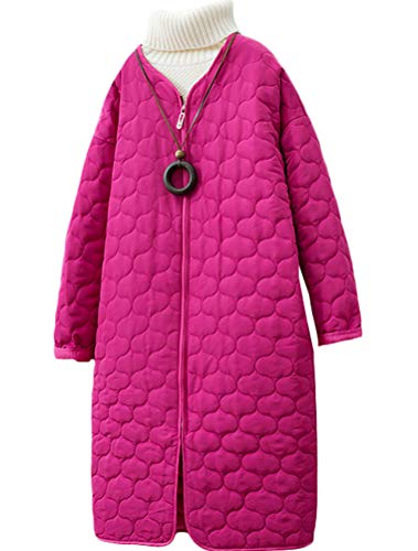 Minibee Women's Lightweight Puffer Jackets Packable Mid-Length Quilted Padded Parka Coat Rose L