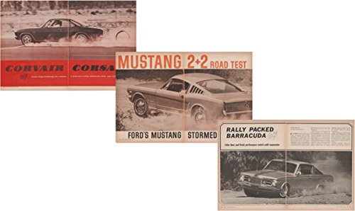 (1965 CHEVROLET CORVAIR CORSA, FORD MUSTANG 2 + 2 & PLYMOUTH BARRACUDA FASTBACK VINTAGE NON-COLOR ROAD TEST - USA - MOTOR TREND - NICE ORIGINAL !!)