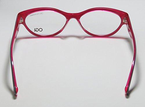 Ogi 3067 Womens/Ladies Vision Care Stylish Designer Full-rim Eyeglasses/Spectacles (52-16-140, Dark Gray / Pink)
