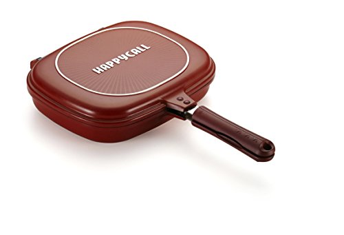 Happycall Nonstick Double Pan, Omelette Pan, Flip Pan, Square, Dishwasher Safe, PFOA-free, Red (Jumbo Grill, 3