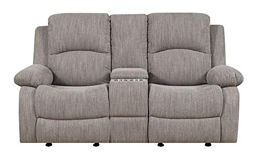 Emerald Home Furnishings Hennessy Textured Wheat Dual Reclining Loveseat with Hidden Storage