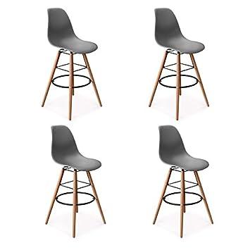 Idmarket Lot De 4 Tabourets De Bar Design Scandinave Gris Amazon