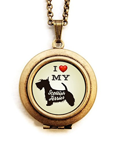 Dearest Mine Women's Brass Plated Dog Breed Silhouette Petite Locket Necklace 18 inches (Scottish ()