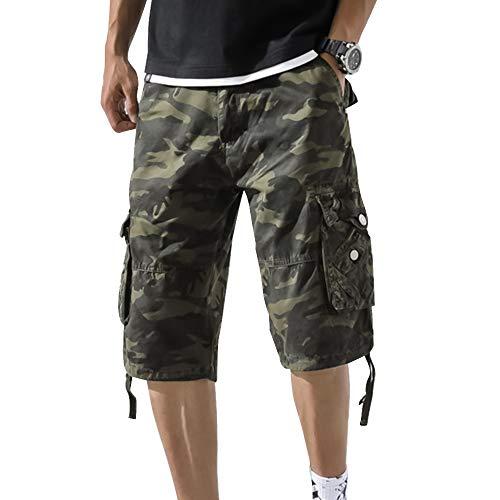 OEAK Men's Casual Camo Long Cargo Shorts Cotton Loose Fit Below Knee Multi-Pocket Outdoor Capri Pants