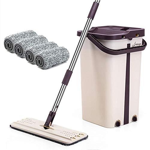 (Self Cleaning Flat Mop Convenient Washing-free Washable & Reusable Retractable Flat Mop Microfiber Mop and Bucket System for Floor Cleaning for Wet and Dry Mopping on All Surfaces)