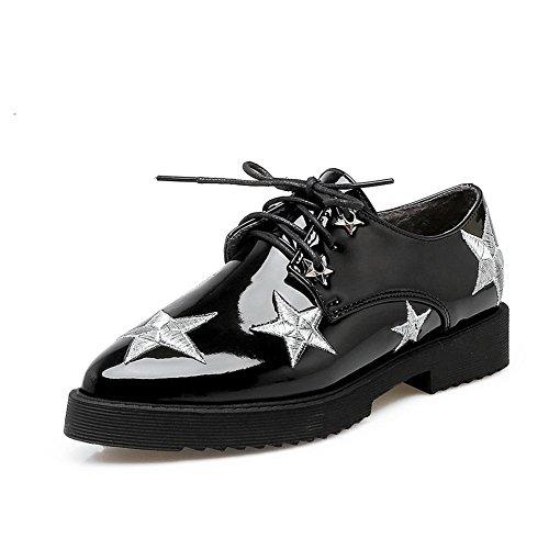 Balamasa Ladies Bandage Square Heels Platform Zapatos Con Punta De Uretano Oxfords Negro