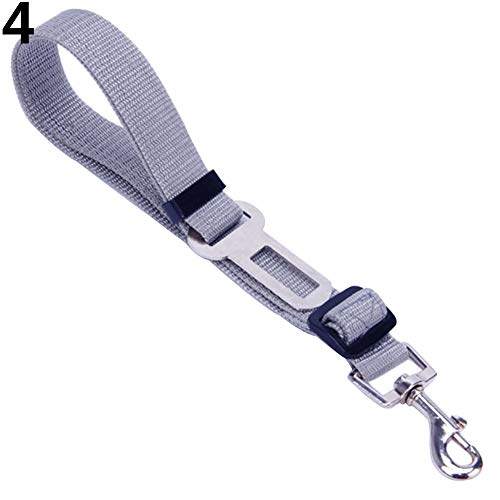 Jeakmo Adjustable Practical Dog Pet Car Safety Leash Seat Belt Vehicle Harnesses Restraint Lead Travel Clip Pet Supplies Basic Leashes Easy Control for Small Medium Large Dogs (Grey)