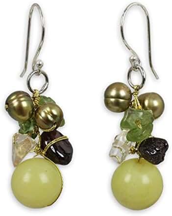 NOVICA Multi-gem Dyed Cultured Freshwater Pearl .925 Sterling Silver Cluster Earrings, 'Freshness'