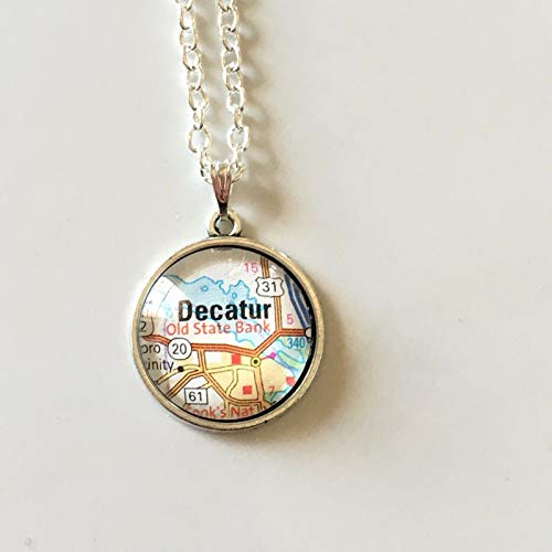 Decatur Alabama Old State Bank USA Road Map Pendant Vintage Necklace Atlas GH-644