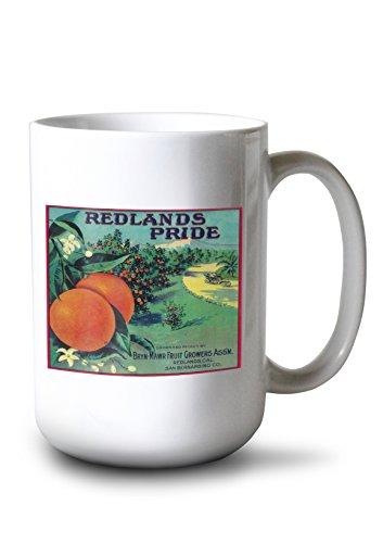 - Lantern Press Redlands Pride Orange - Vintage Crate Label (15oz White Ceramic Mug)